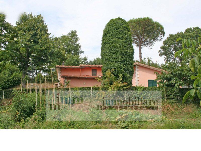 Villa con giardino e terreno a Montemerano Toscana 203B, in splendida posizione a due passi dal Borgo Medievale completa di tutto con ruscello che attraversa la proprietà.